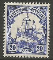 German SW Africa - 1911 Kaiser's Yacht 20pf MH *   Mi 27  Sc 29 - Colony: German South West Africa