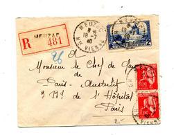 Lettre Recommandee Meuzac Sur Moulin - Marcophilie (Lettres)