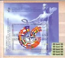 2001 Sofia ; Summit (Owl) (Michel: BL 249 )  S/S -used/oblitere (O) BULGARIA / Bulgarie - Idées Européennes