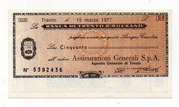 Italia - Miniassegno Da Lire 50 Emesso Dalla Banca Di Trento E Bolzano Nel 1977 - (FDC15520) - [10] Checks And Mini-checks