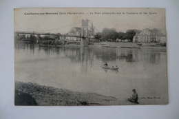 CPA 47 LOT ET GARONNE COUTHURES SUR GARONNE. Le Pont Suspendu Sur La Garonne Et Les Quais. 1908. - France