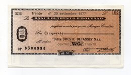 Italia - Miniassegno Da Lire 50 Emesso Dalla Banca Di Trento E Bolzano Nel 1977 - (FDC15521) - [10] Assegni E Miniassegni