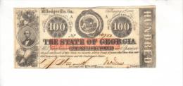 MILLEDGEVILLE---Georgia    $100.00  DOLLAR  Bill  (1863) RARE!!!! GA-CR-6D-UNL---PCGS 63 Choice UNC. - Georgia