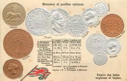REPRÉSENTATION DES MONNAIES - Empire Des Indes Anglaises Et Ceylon, Carte Illustrée Gaufrée - Monnaies (représentations)