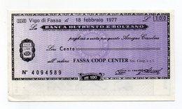 Italia - Miniassegno Da Lire 100 Emesso Dalla Banca Di Trento E Bolzano Nel 1977 - (FDC15523) - [10] Checks And Mini-checks