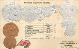 REPRÉSENTATION DES MONNAIES - Colonie Anglaise, Staits Settlements Et Hong Kong, Carte Illustrée Gaufrée - China (Hong Kong)