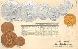 REPRÉSENTATION DES MONNAIES - Les Indes Néerlandaises Carte Illustrée Gaufrée - Monnaies (représentations)