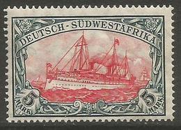 German SW Africa - 1906 Kaiser's Yacht 5mk MLH *   Mi 32a  Sc 34 - Colony: German South West Africa