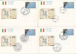 78995- NASA, GIUSEPPE COLOMBO, SATELLITE, COSMOS, SPACE, AEROGRAMME, 4X, 1X OBLIT FDC, 1992-1996, ITALY - Europe