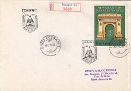 78997- MARASESTI BATTLE ANNIVERSARY, WW1, HISTORY, STAMP AND SPECIAL POSTMARK ON REGISTERED COVER, 1977, ROMANIA - WW1