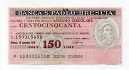 Italia - Miniassegno Da Lire 150 Emesso Dalla Banca S. Paolo Di Brescia  Nel 1976 - (FDC15525) - [10] Assegni E Miniassegni