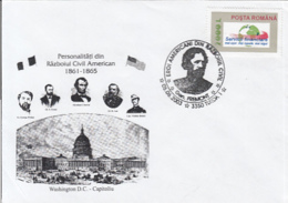 79059- PERSONALITIES FROM THE AMERICAN CIVIL WAR, HISTORY, SPECIAL COVER, 2003, ROMANIA - History