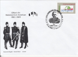 79061- OFFICERS FROM THE AMERICAN CIVIL WAR, HISTORY, SPECIAL COVER, 2003, ROMANIA - History