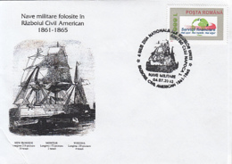 79062- SHIPS FROM THE AMERICAN CIVIL WAR, HISTORY, SPECIAL COVER, 2003, ROMANIA - History