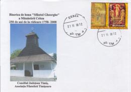 79074-CEBZA- THE MONASTERY'S CHURCH, ARCHITECTURE, SPECIAL COVER, 2008, ROMANIA - Abbeys & Monasteries