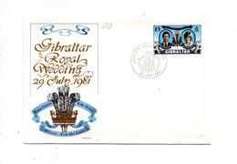 LAB678 - GIBILTERRA 1981 , Royal Wedding Charles Diana Su FDC - Gibilterra