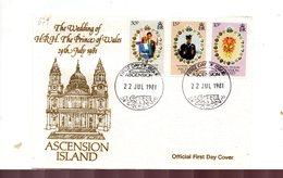 LAB679 - ASCENSION 1981 , Royal Wedding Charles Diana Su FDC - Ascensione