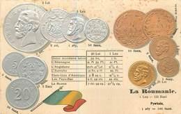 REPRÉSENTATION DES MONNAIES - La Roumanie, Carte Illustrée Gaufrée - Roemenië