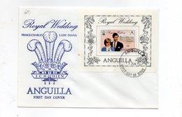 LAB681 - ANGUILLA 1981 , Royal Wedding Bf Charles Diana Su FDC - Anguilla (1968-...)
