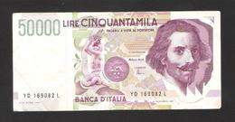 Italy - 50000 Lire - YD 1992 - Used - [ 2] 1946-… : République