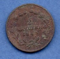 Baden  - 1/2 Kreuzer 1848  -  état B - [ 1] …-1871 : Etats Allemands
