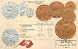 REPRÉSENTATION DES MONNAIES - Le Siam, Carte Illustrée Gaufrée - Monnaies (représentations)