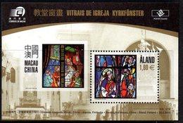 Aland Finland 332/33 Vitrail , Christianisme, Macau, Macao - Joint Issues