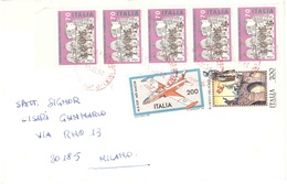 AFFRANCATURA MISTA 5X£70 GIORNATA DEL FRANCOBOLLO + VALORI GEMELLI £200 - Stamp's Day