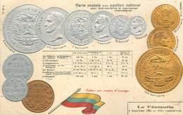 REPRÉSENTATION DES MONNAIES - Le Venezuela, Carte Illustrée Gaufrée - Venezuela