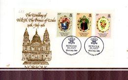 LAB683 - NORFOLK 1981 , Royal Wedding  Charles Diana Su FDC - Isola Norfolk