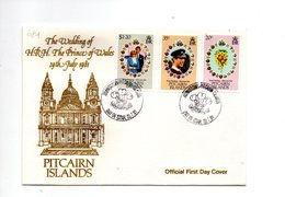 LAB684 - PITCAIRN 1981 , Royal Wedding  Charles Diana Su FDC - Pitcairn Islands