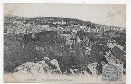 (RECTO / VERSO) MORTAIN EN 1904 - VUE GENERALE PRISE DES FRESNAYES - CACHET AMBULANT TRI FERROVIAIRE - CPA VOYAGEE - France