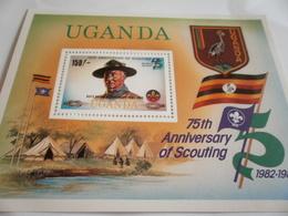 Miniature Sheet Perf 75th Anniversary Of Scouting - Uganda (1962-...)