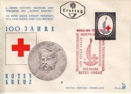 BM732 Österreich FDC Ersttag ANK 1165, 100 J. Rotes Kreuz, Sonderstempel Wien 101, 25.10.1963 - FDC
