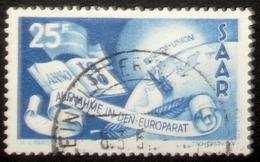 Saar 1950: Conseil De L'Europe Aufnahme Im Europarat Michel-No.297 O KLEINBLITTERSDORF 8.3.51 (Michel 15.00 Euro) - 1947-56 Protectorate