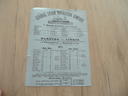 Horaires 1870 General Steam Navigation Company Dampf Packete Hamburg London - Transports