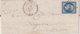 """FRANCE : N° 14 . PC 860 . ET CAD """" CRUELLES """" . ( 43 ) . B . 1861 . - Storia Postale"""