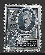 URUGUAY    -   1933  .   Y&T N° 461 Oblitéré .  Juan Zorilla De San Martin  /  Lyre  /  Poèsie - Uruguay