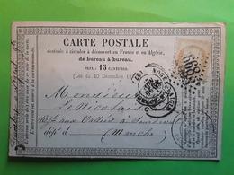 Carte PRECURSEUR,NOGENT LE ROTROU, Eure Et Loir GC 2668 Sur CERES 59,20  Novembre  1873  >  Sourdeval , Manche - Marcophilie (Lettres)