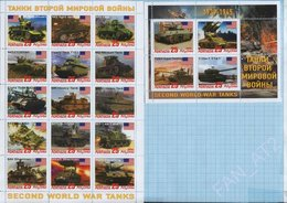 Abkhazia / Stamps / Private Issue. World War II. Military Equipment Tanks. USA. 2019. - Fantasy Labels
