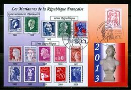 Les Mariannes De La République Par Christian Duverne.  Année 2013; Carte Maximum Card. (0644) - 2010-...
