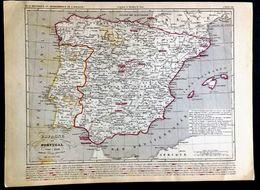 L'ESPAGNE ET LE PORTUGAL 1640 à 1849 Dressée Sous La Direction De A.Houzé. - Geographische Kaarten
