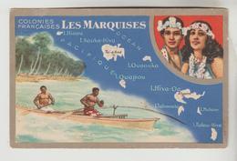 CPSM POLYNESIE FRANCAISE : ARCHIPEL DES MARQUISES CARTE GEOGRAPHIQUE FRANCAISE - Maps