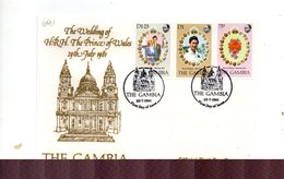 LAB691 - GAMBIA 1981 , Royal Wedding   Charles Diana Su FDC - Gambia (1965-...)