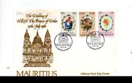 LAB693 - MAURITIUS 1981 , Royal Wedding   Charles Diana Su FDC - Mauritius (1968-...)
