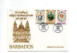 LAB694 - BARBADOS 1981 , Royal Wedding   Charles Diana Su FDC - Barbados (1966-...)