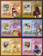 A{154} Guinea 2008 Butterflies 6 S/S Deluxe MNH** - Guinea (1958-...)