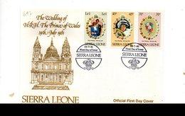 LAB697 - SIERRA LEONE 1981 , Royal Wedding   Charles Diana Su FDC - Sierra Leone (1961-...)