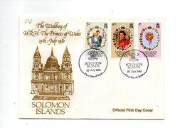 LAB698 - SOLOMON SALOMONE 1981 , Royal Wedding   Charles Diana Su FDC - Solomon Islands (1978-...)