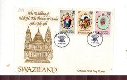 LAB699 - SWAZILAND 1981 , Royal Wedding   Charles Diana Su FDC - Swaziland (1968-...)